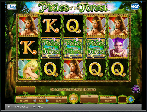 Pixies of the forest slot game play